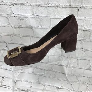 Nine West brown suede block heel pump sz 8 M